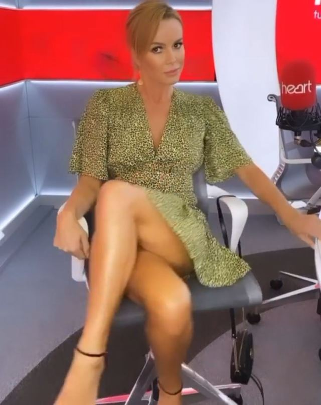 Amanda Holden nearly gave fans an eyeful as she crossed her legs