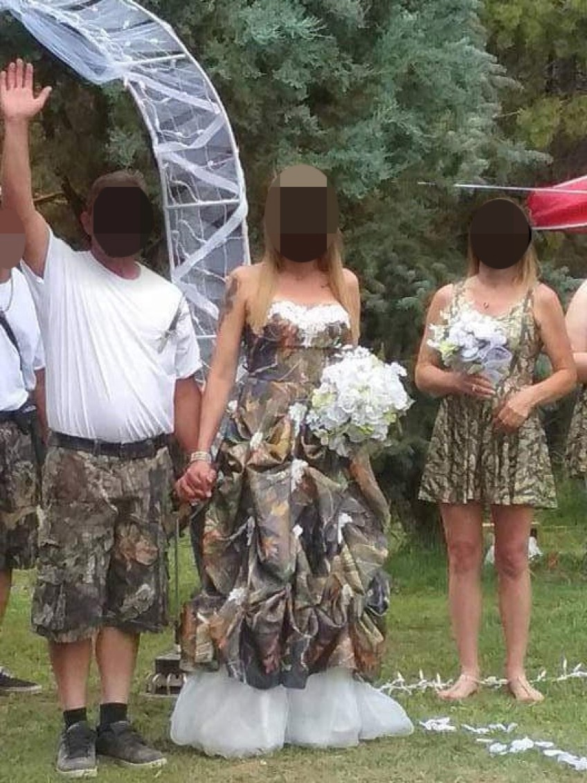 Father-of-the-bride slammed for walking his daughter down the wedding aisle  clutching a BEER – and they're all in camo