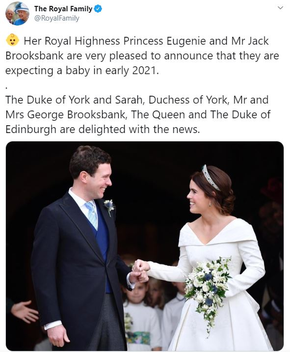 The Royal Family shared the news in a post on Twitter