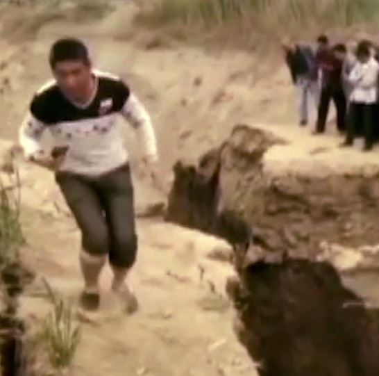 This man plunged into a river after breaking a crumbling rock