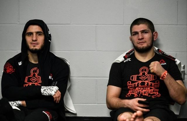 Islam Makhachev pictured next to training partner Khabib