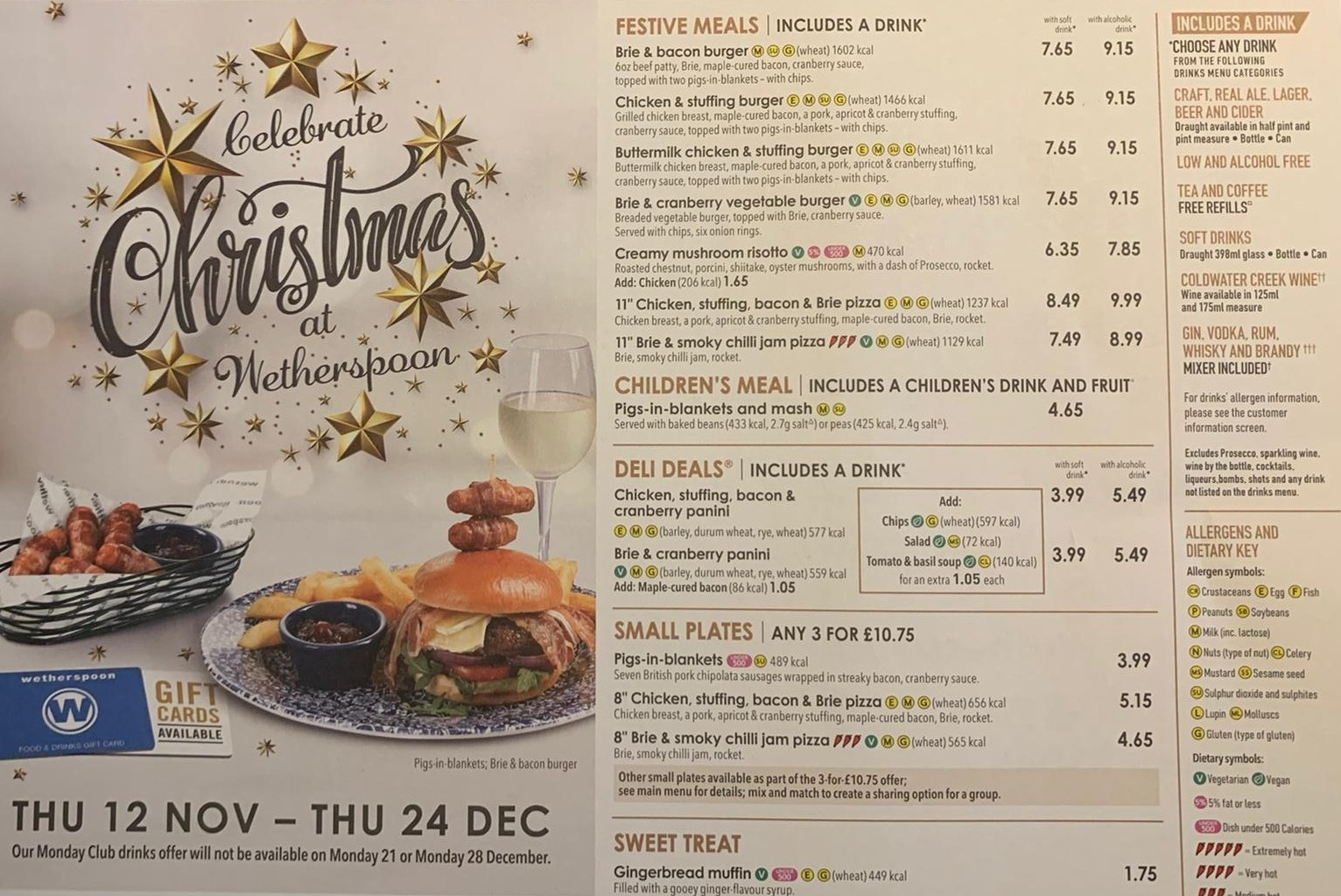 Wetherspoon is 'stuffing Christmas' by shunning traditional festive dinners for burgers, risotto, paninis and pizzas