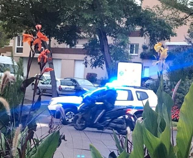 French Police are pictured at the scene