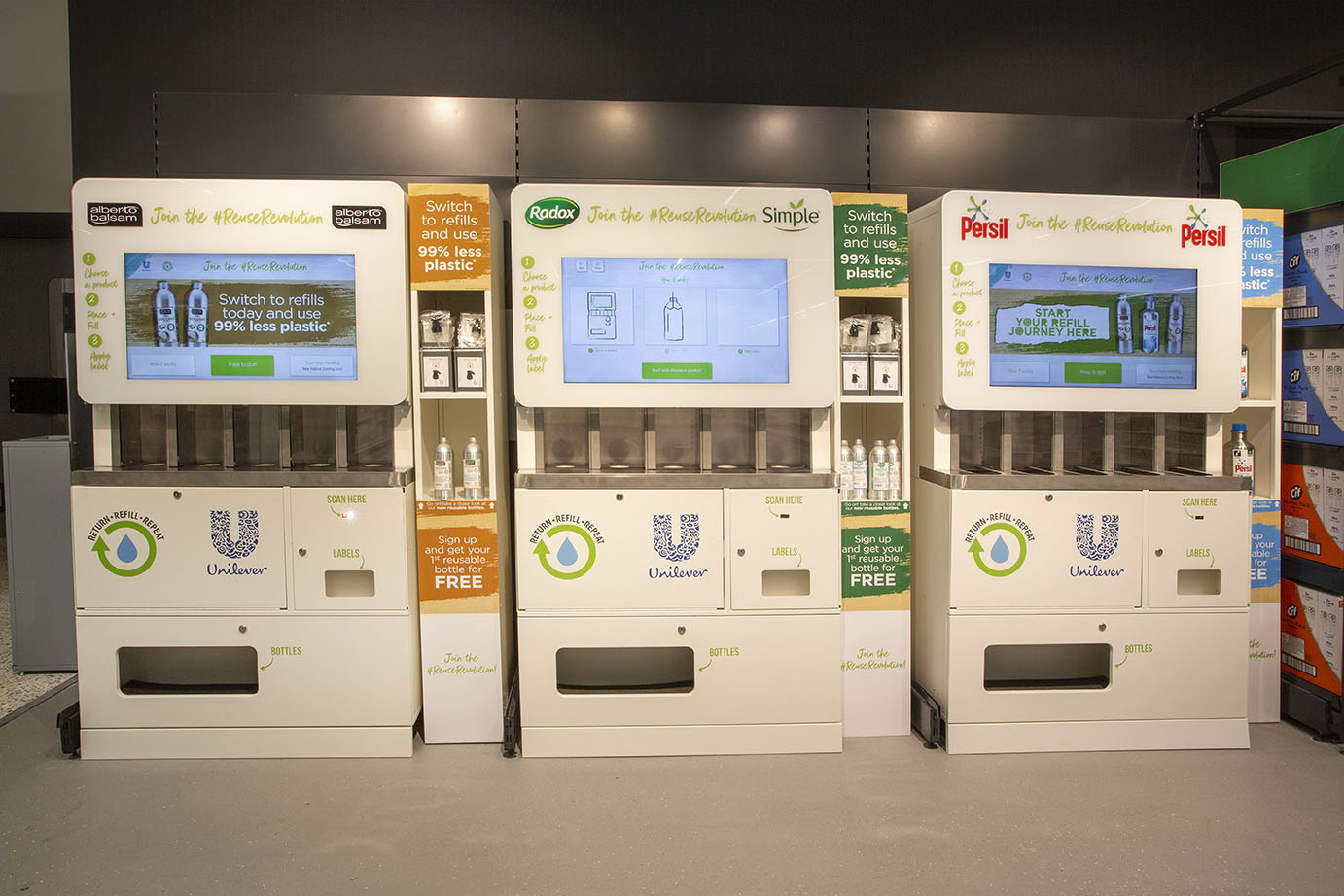 Some of the new refill stations at Asda's Middleton branch