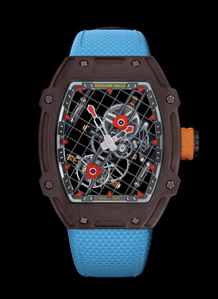 The intricate design of the RM 27-04 even has a racket-like string effect across the face
