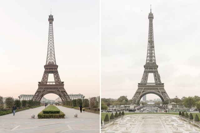 Parisian photographer François Prost travelled to Tianducheng, a small suburb in China modelled on his home city of Paris. On the left is the Chinese replica of the Eiffel Tower, on the right is the original.