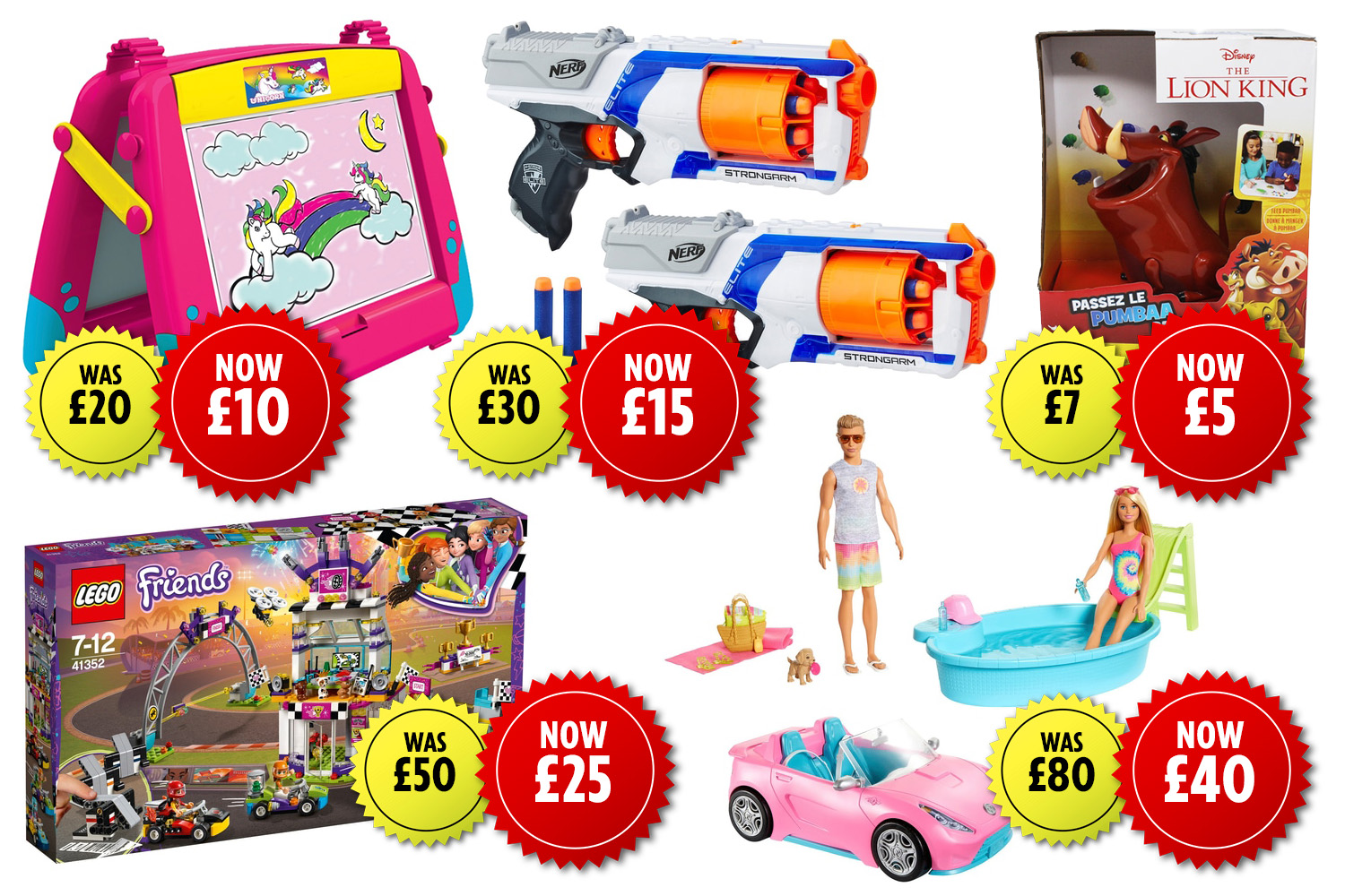 You can get half price of a range of toys at Smyths