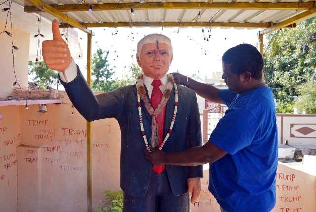 Bussa Krishna with his 6ft statue of Donald Trump