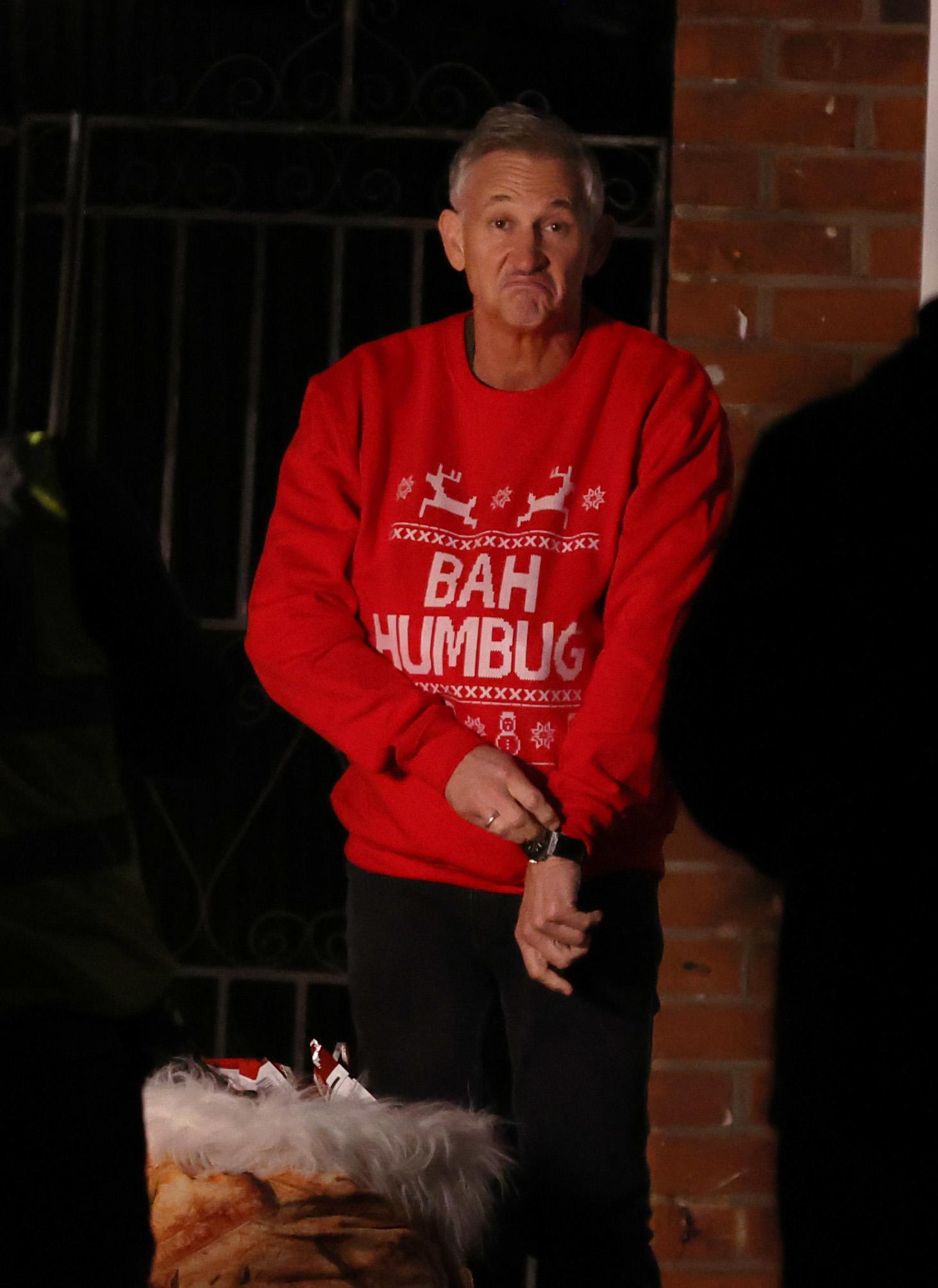 Gary Lineker swaps goalposts for jumpers to film Walkers Christmas advert