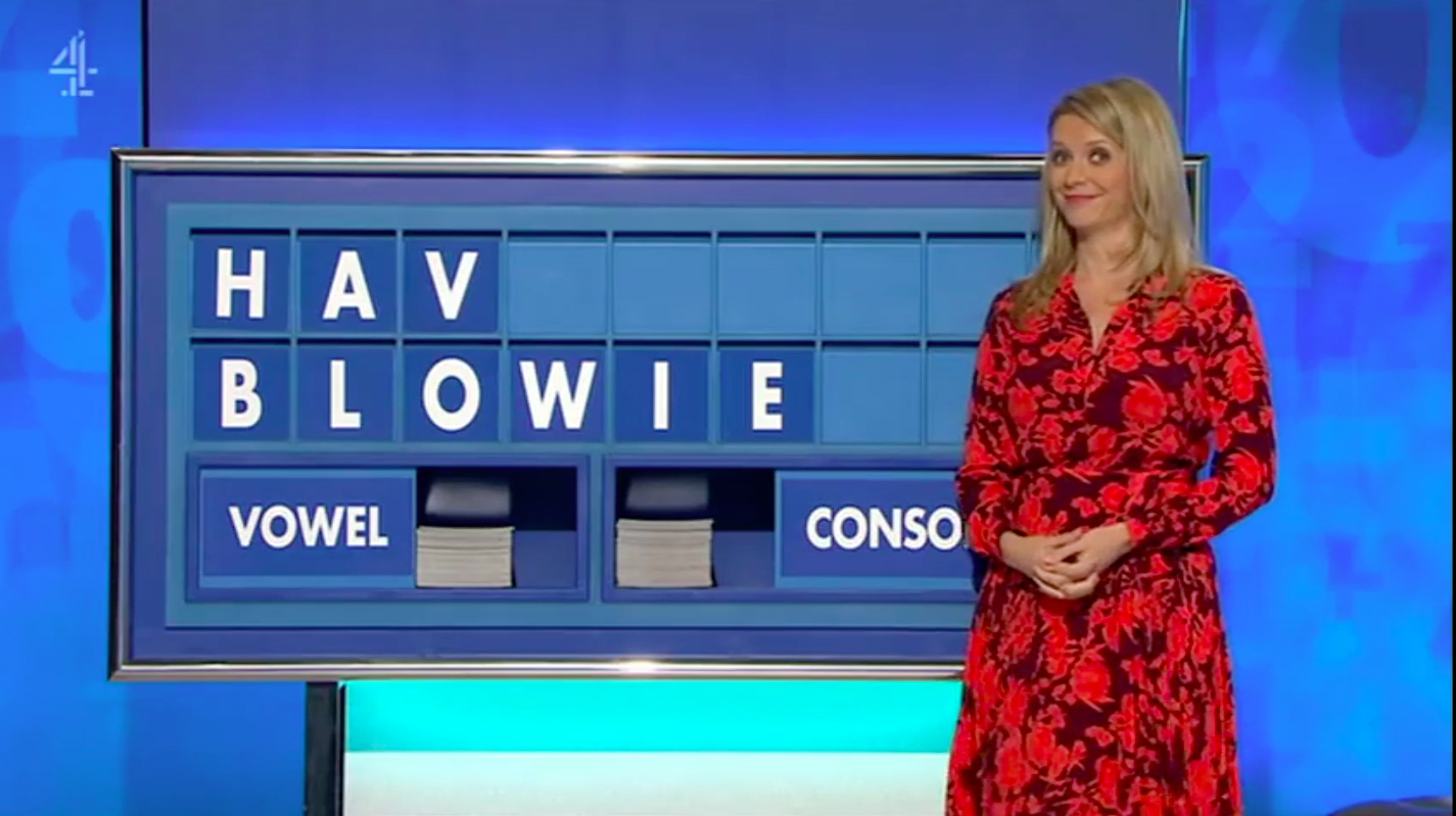 Rachel Riley's face is a picture as 'blowie' is given as an answer on Countdown