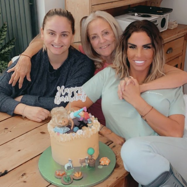Katie Price, 42, with her mum Amy and sister Sophie