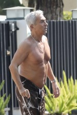 Strictly judge Bruno Tonioli, 64, goes shirtless in LA as the dance show returns to TV without him