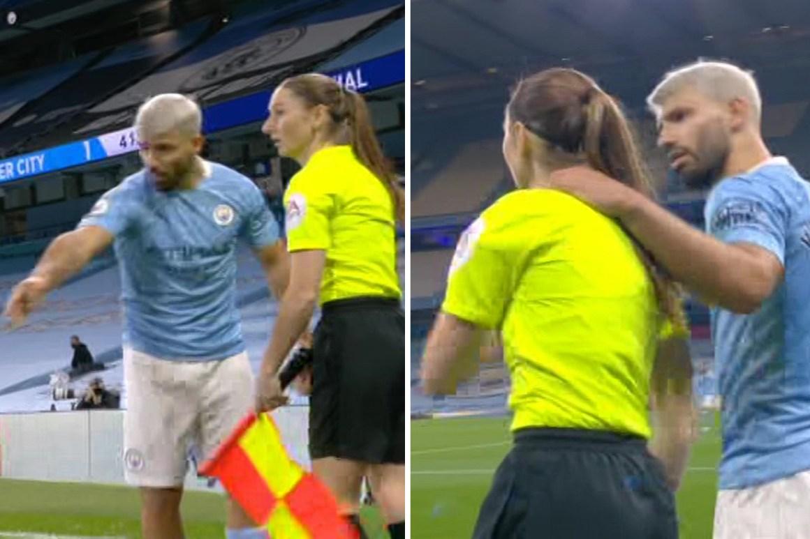 Sergio Aguero dodges FA rap after grabbing assistant ref Sian Massey-Ellis  on the shoulder during Man City vs Arsenal