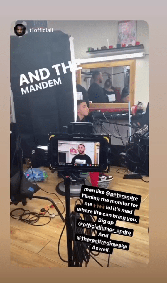 Theo revealed Peter Andre took over his Instagram as he filmed his scenes