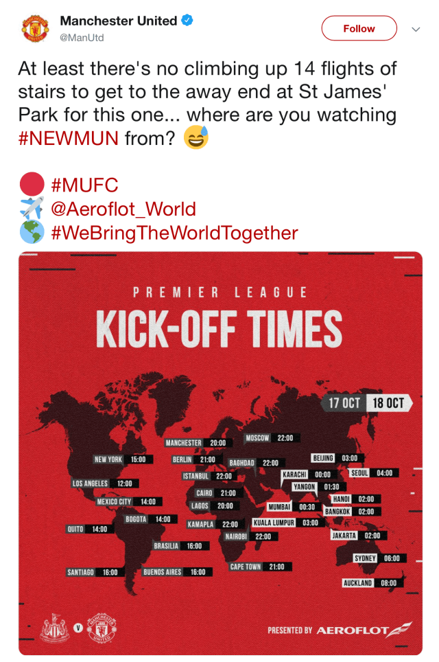 Manchester United's Twitter team quickly deleted the cringeworthy post