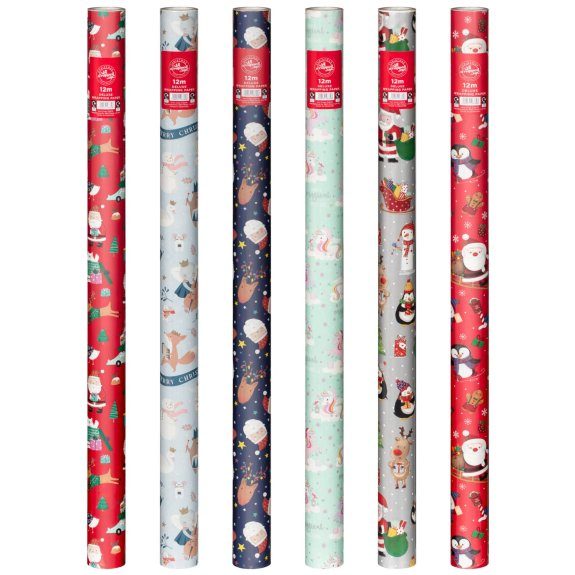 Choose from six festive designs available in 12 metre rolls