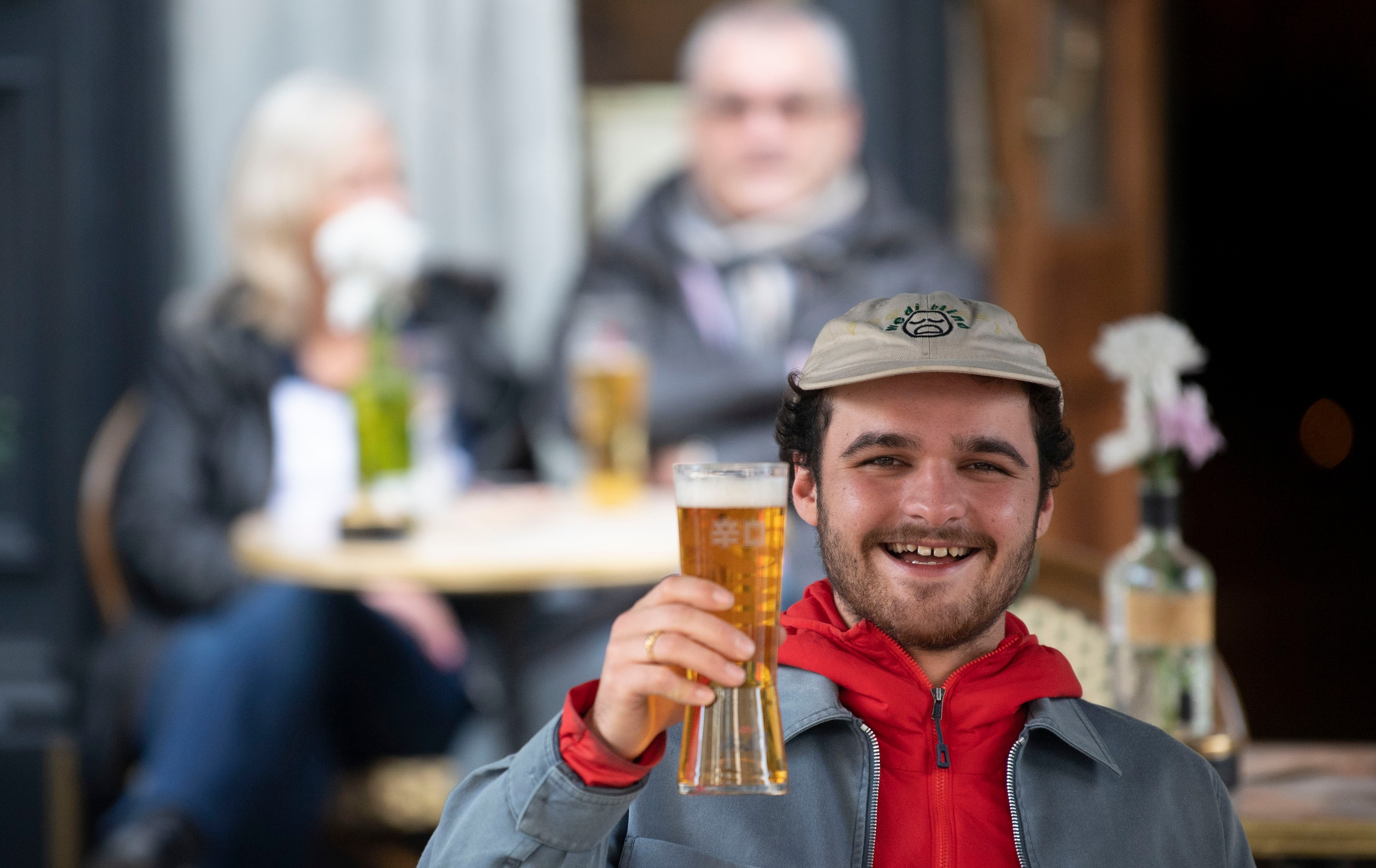 A punter enjoying a pint in Wales last week