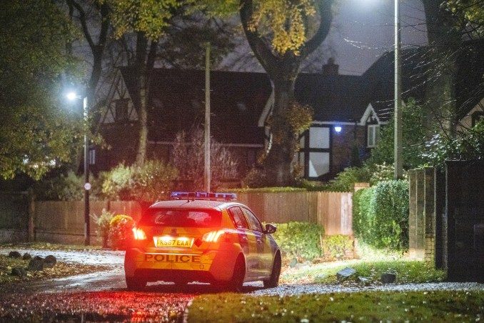 Police arrived at his Greater Manchester home on Sunday night