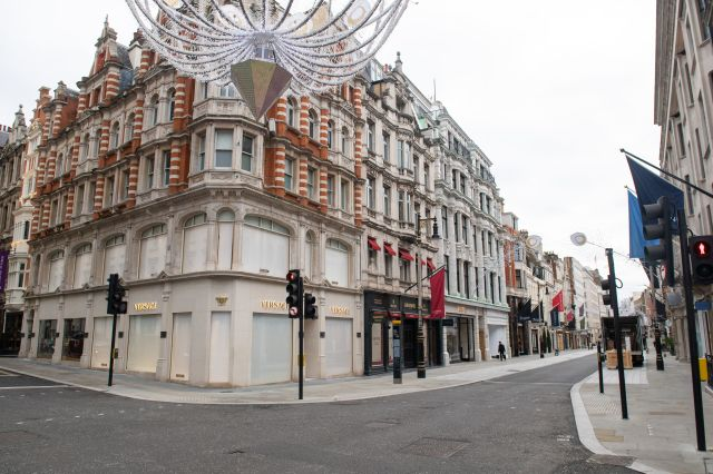 Closed shops pictured on an empty New Bond Street, London as England continues another lockdown