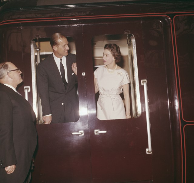 The Queen and Prince Philip aboard the royal train in 1961