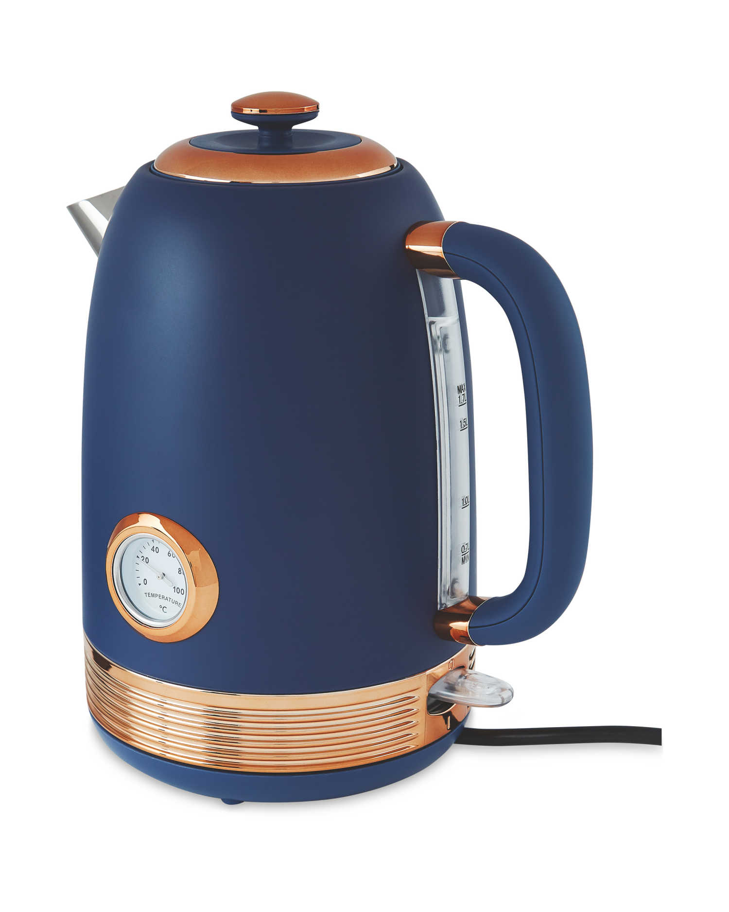 Save £12 on this retro navy blue kettle at aldi.co.uk