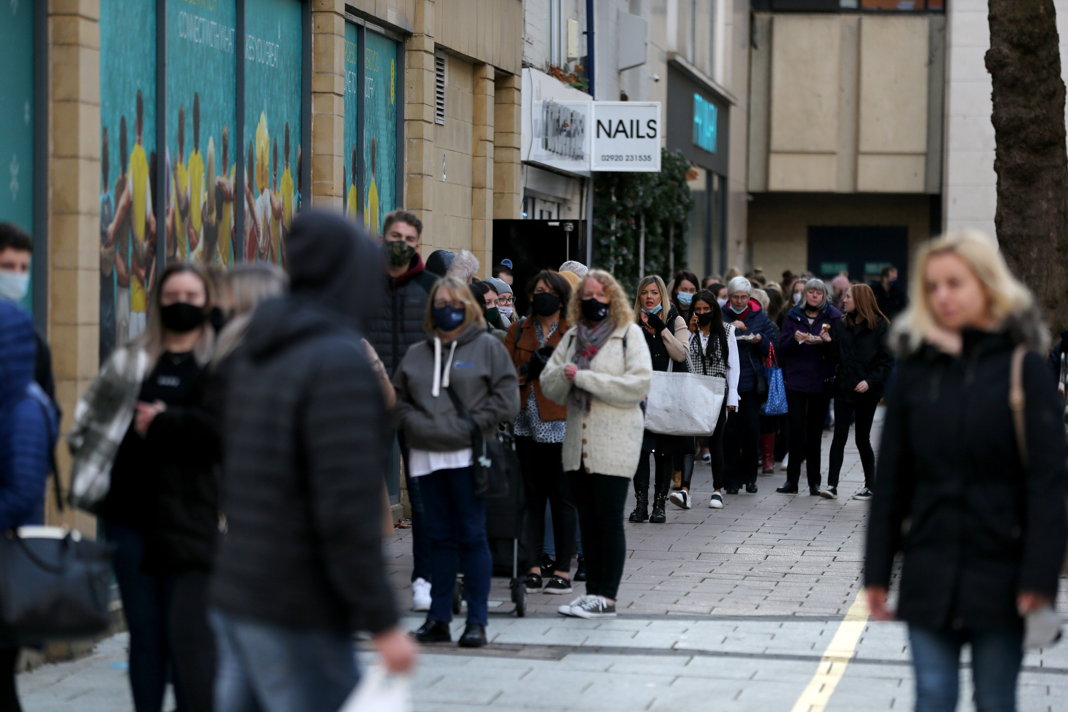 Shoppers were queuing outside Primark in Cardiff today