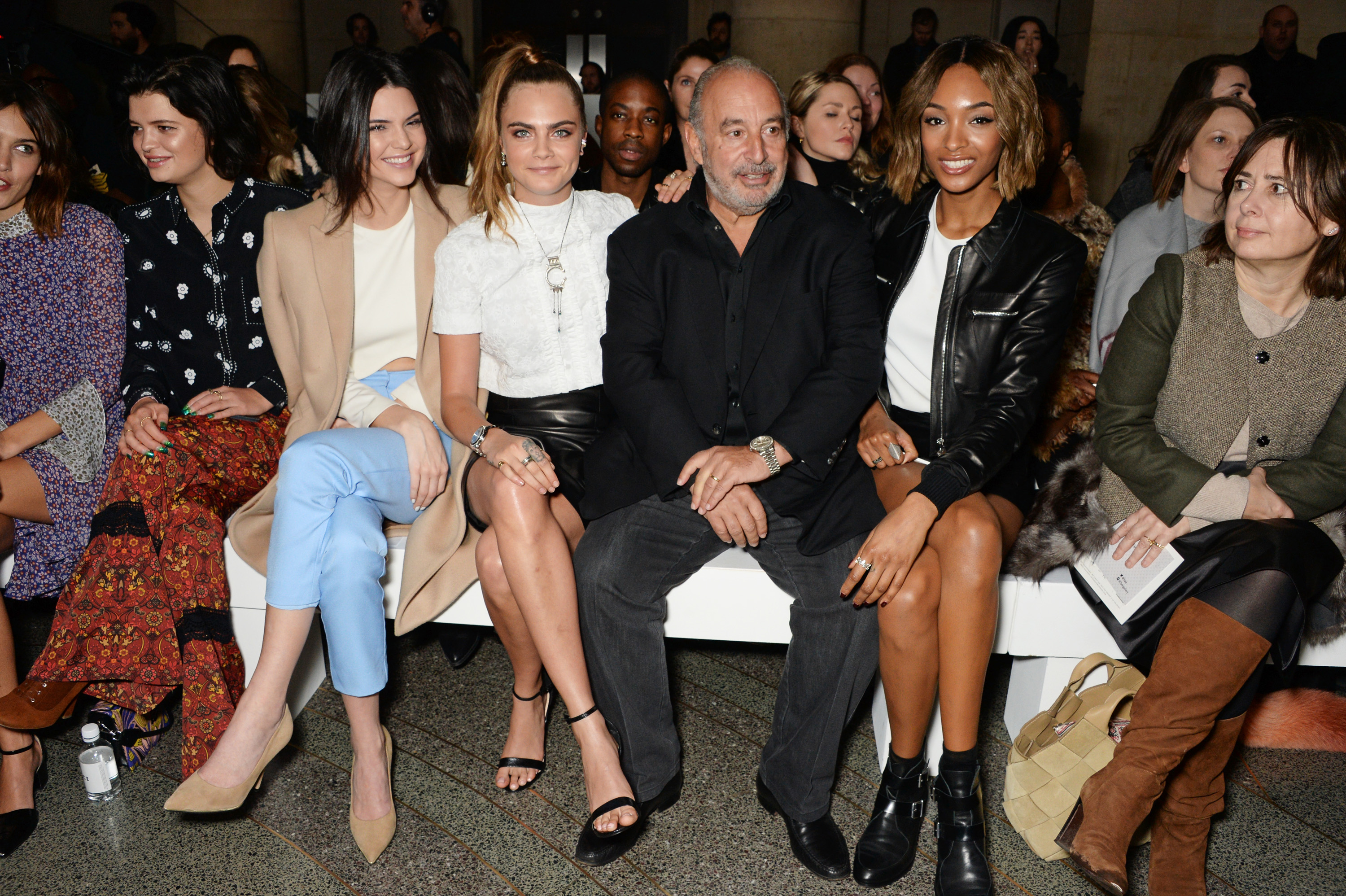 Sir Philip Green was pictured during the Topshop London Fashion Week 2015 show with Kendall Jenner and Cara Delevingne