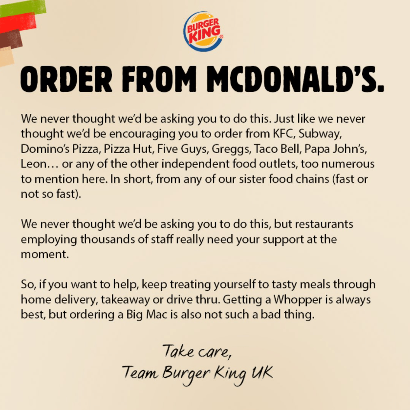 Burger King tweeted the following message of support
