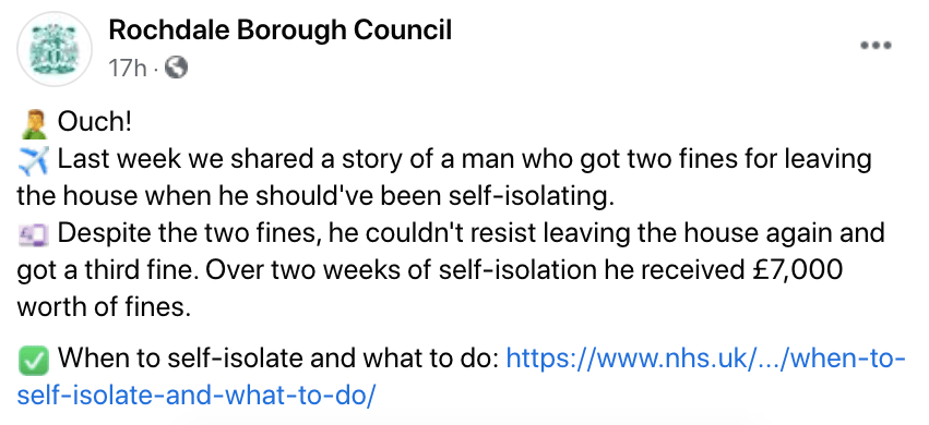 Rochdale Borough Council slammed the man on social media, but not all users agreed