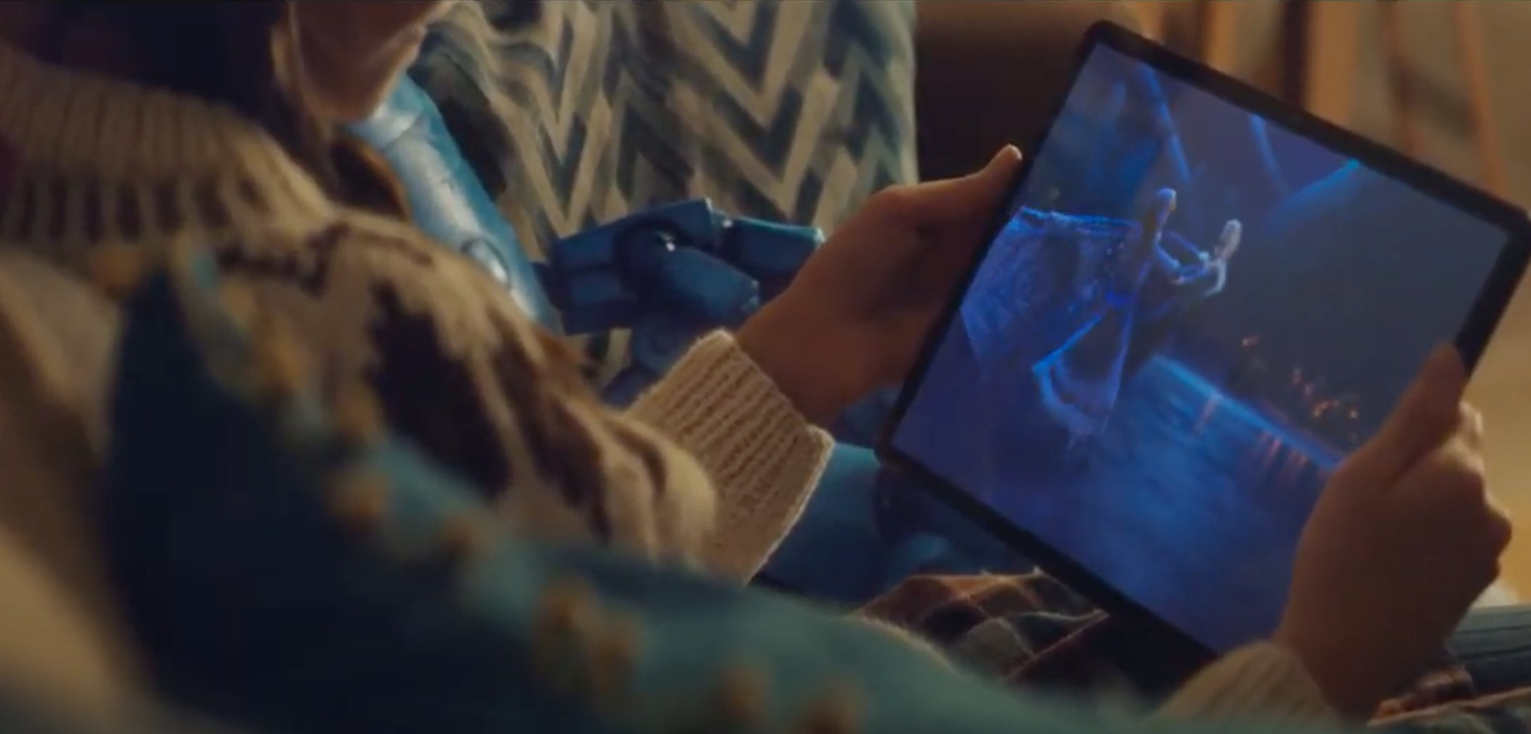 With lockdown preventing Darcy to participate in sports, the young girl is instead watching an ice-skating adventure from Frozen on her tablet