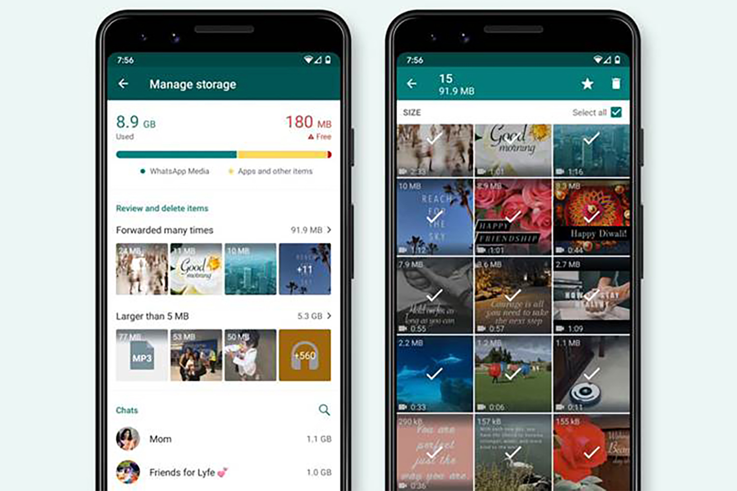 WhatsApp's new storage management feature will free up space on your mobile