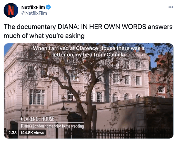 Netflix shared this tweet saying that a documentary about Diana answers viewers' questions