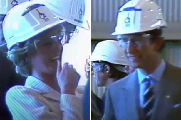 Unseen footage shows Diana in hysterics at sight of Charles wearing a hard hat
