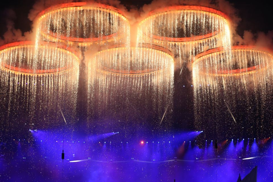 The Olympic rings were forged in front of the audience's eyes at the opening ceremony for London 2012