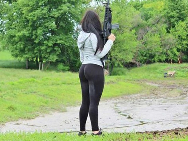 She posted pictures online showing off her guns and her voluptuous body