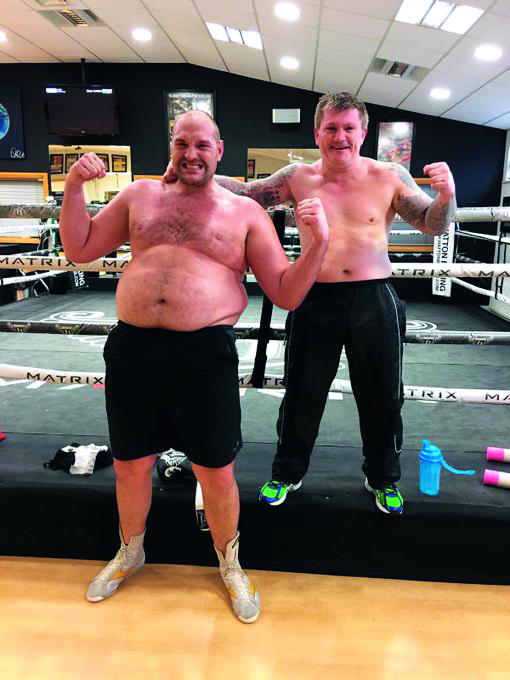 The Gypsy King, pictured here with his friend and trainer Ricky Hatton, fell 10th on his own trip