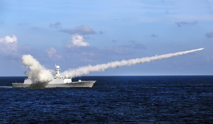 Chinese ship launches anti-ship missile during military exercise in South China Sea