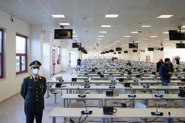 A huge call centre has been converted into a courtroom for the upcoming trial in Italy