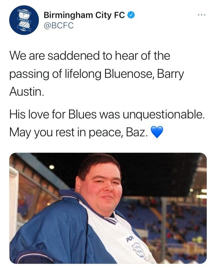 Birmingham City have paid tribute to Blues fan Barry, who had his own custom-built seat at the club's St Andrew's ground