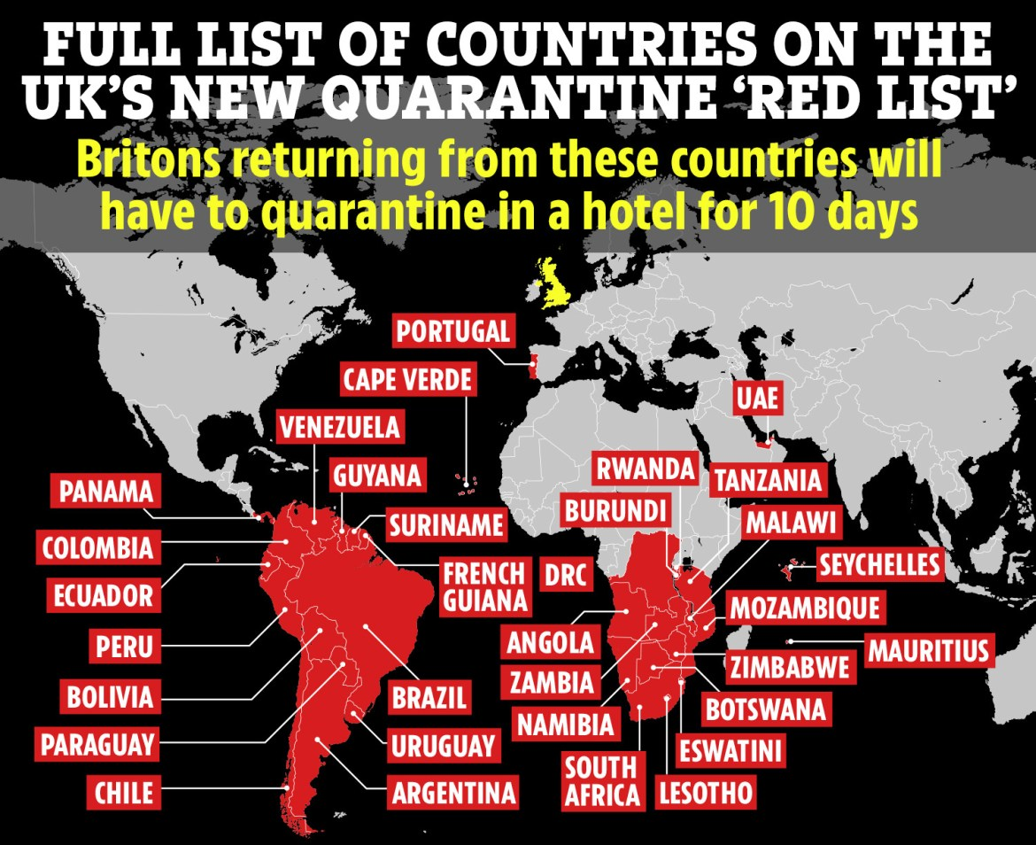 There are 33 countries on the UK's high-risk list