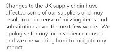 Ocado sent an email to customers warning them that there will be more missing items than usual