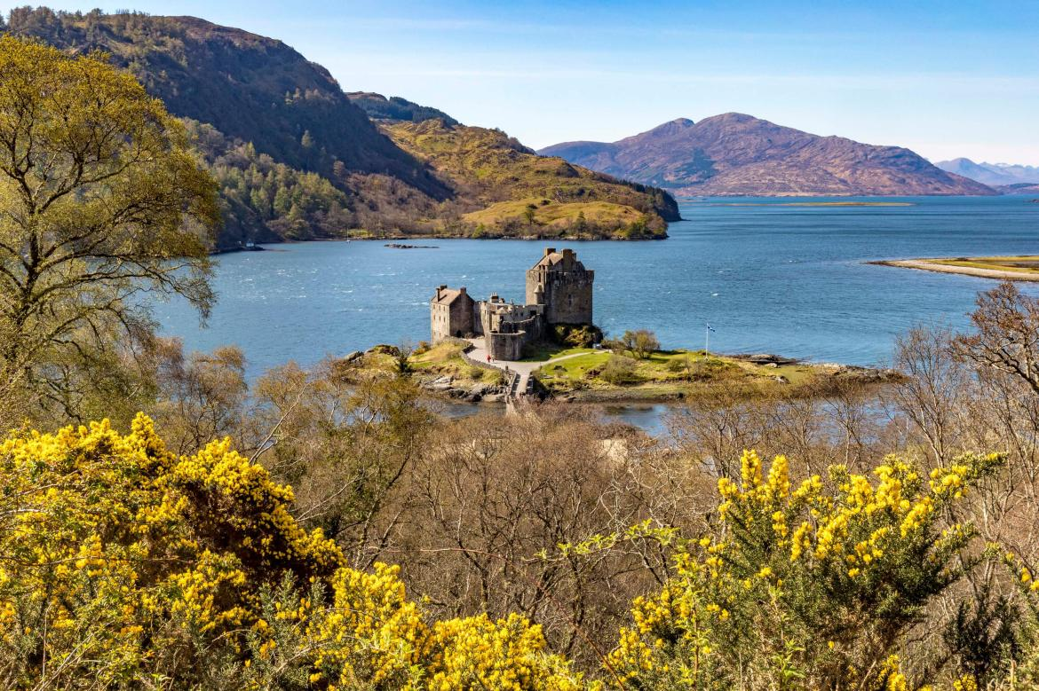 As you get to Kyle of Lochalsh, you will see Eileen Donan Castle bathed in light looking along Loch Alsh