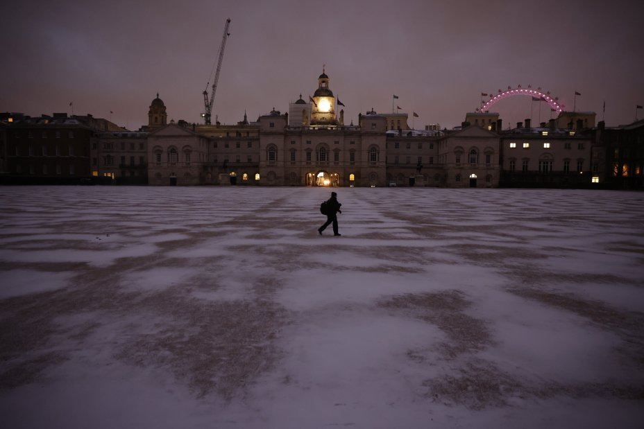 Horse Guards Parade in London was dusted with snow as the snow rose
