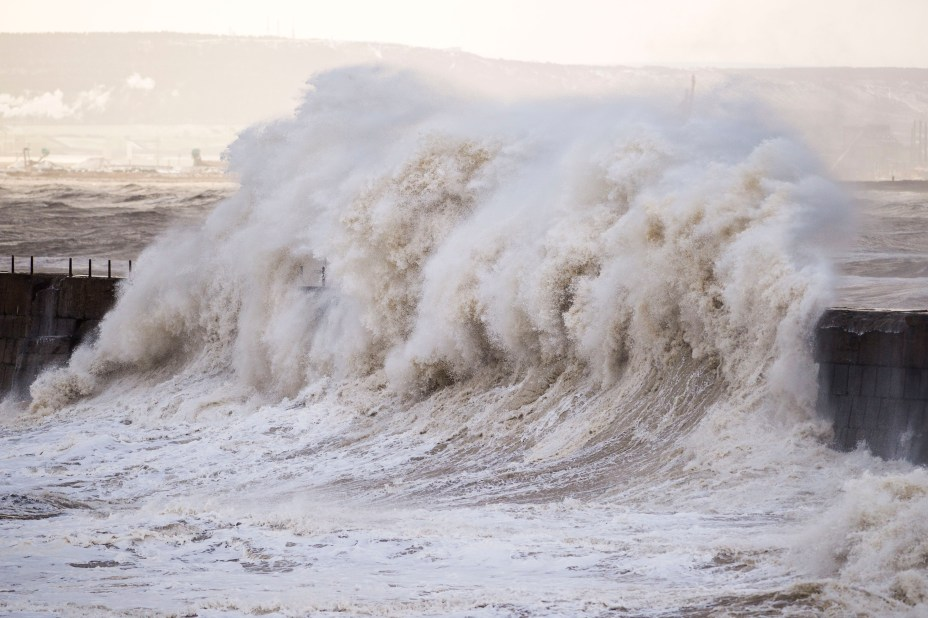 Huge waves hit the Headland Pier in Hartlepool today