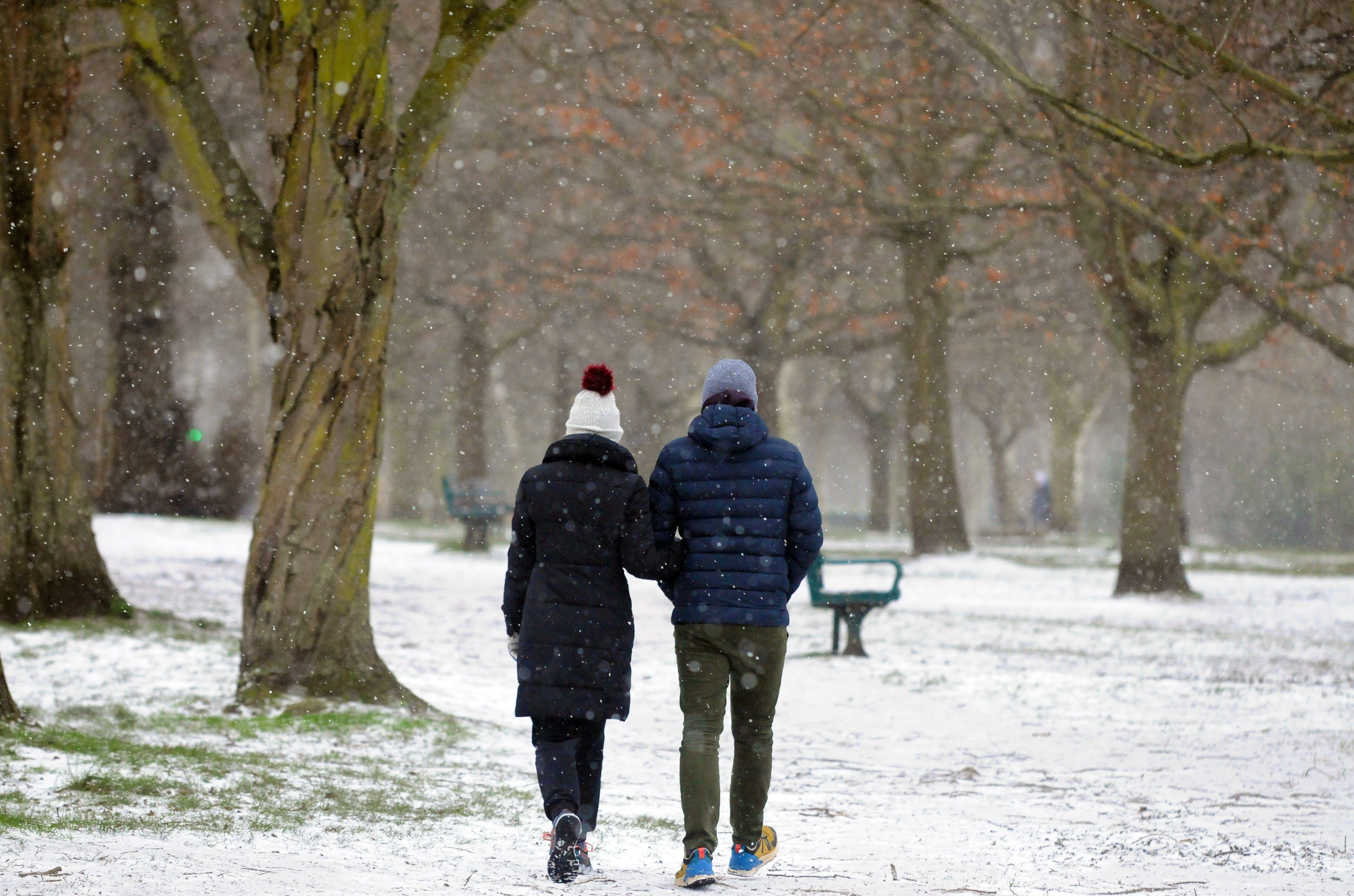 Snow has been dusting the ground in London