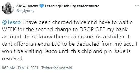 One student took to Twitter to complain about being charged twice