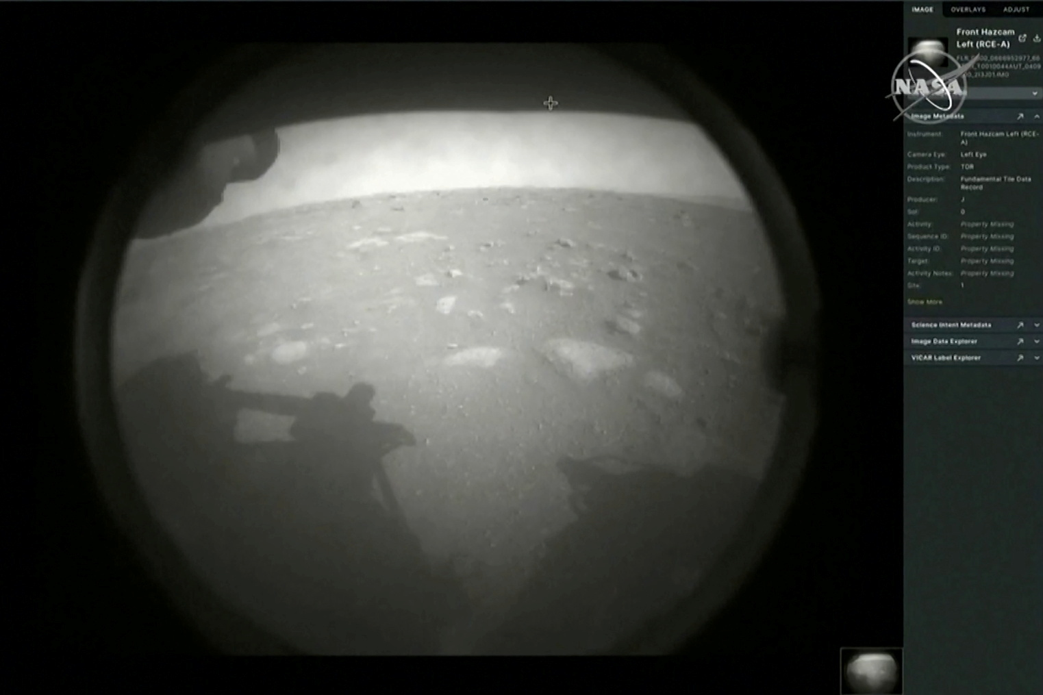 Perseverance beamed back its first image from the surface of Mars on Thursday