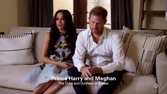 Pregnant Meghan and Harry appeared in a Spotify live stream event on Monday, the first time they had been seen since being stripped of their titles