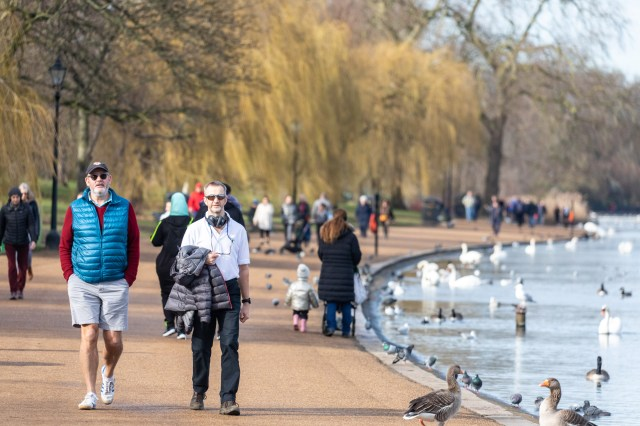 Members of the public enjoy the mild temperatures in London's Hyde Park
