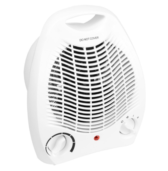 This upright fan heater pumps out hot air
